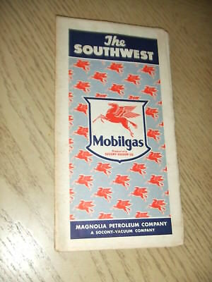 RARE 1941 Socony Mobil Oil Gas Southwest United States Highway Road Map Route 66