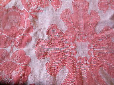 Antique French Berry Rose Pink Lg.Roses Cartouche Cotton Damask Ticking Fabric
