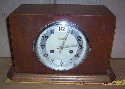 Antique Black Forest Shelf Clock Deco Style Case Normandy Chime 8 Day Mantle