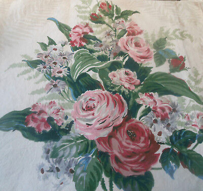 Vintage Shabby Cottage Roses Cotton Fabric ~ Rose Wine Red Lavender Green