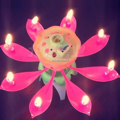 Lotus Flower Candle Musical Blossom Candles Happy Birthday Party Gift N4U8