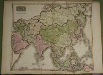 Asian Continent 1817 John Thomson Antique Original Copper Engraved Map