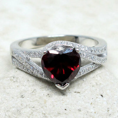 FANTASTIC 1.5 CT HEART GARNET RED 925 STERLING SILVER RING SIZE 5-10 Fine Rings