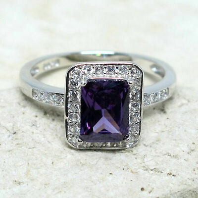Attractive 2 Ct Rectangular Amethyst Purple 925 Sterling Silver Ring Size 5-10