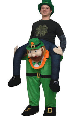 Adult Carry Me Buddy Ride On A Shoulder Piggy Back Leprechaun Costume Mascot