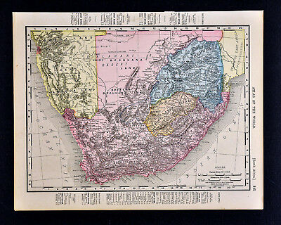 1900 Rand McNally Map South Africa Cape Town Orange Free State Natal Swazi Zulu