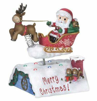 Precious Moments Moving Musical Santa in Sleigh Light Up Christmas Figurine