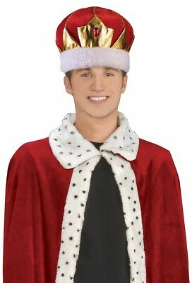 King's Crown Adult Mens Costume Hat Red Fancy Dress Jeweled Royal Kings Party