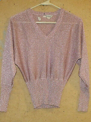 Vintage 1970's Pink Lurex Glittery V Neck Juniors Large Disco Sweater Knit Top