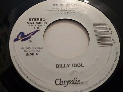 """Billy Idol """" Hot In The City """" 7"""" Single Excellent 1983"""