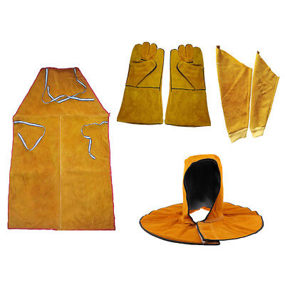 Leather Welders Welding Apron with Gloves Sleeves and Head Cover Workwear