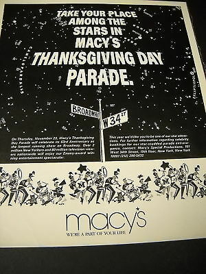 MACY'S Thanksgiving Parade TAKE YOU PLACE 1989 Promo Ad