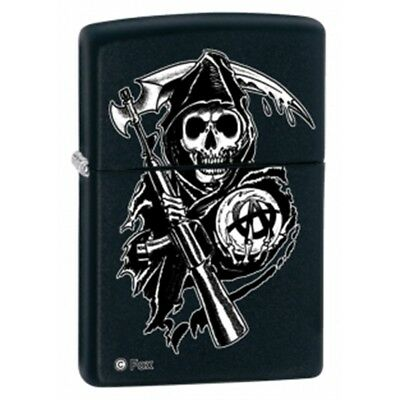 Matte Black Sons Of Anarchy Reaper Zippo Lighter - Windpro Pocket New