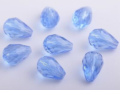 10pcs 12mm Teardrop Faceted Crystal Glass Charm Loose Spacer Beads Light Blue