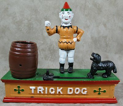 Vintage Replica Mechanical Coin Bank TRICK DOG Cast Iron in Working Condition
