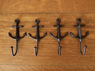 "4 BROWN ANCHOR WALL HOOKS 5"" CAST IRON COAT KEY HAT nautical boat beach theme"