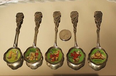 Vintage Norman Rockwell Merry Christmas Spoons Set Of 5 1St Ed 1982 Thru 1986