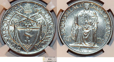 Vatican City. Pope Pius XII (1939-1958). 1 Lira 1942 - Justice. NGC MS66.