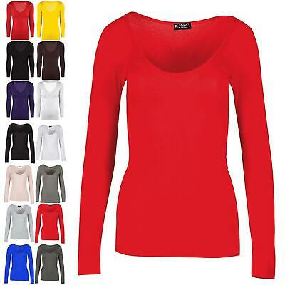 Ladies Womens Scoop Neck Plain Casual Long Sleeves Stretchy Slim Fit T-Shirt Top