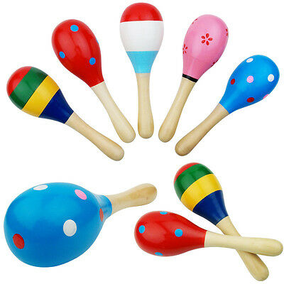 Wooden Ball Sand Hammer Rattle Musical Instrument Children Music Toy.AU