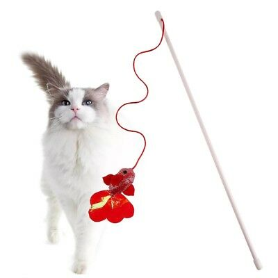 Kitten Pet Cat Teaser Red Fish Interactive Fun Toy Wire Chaser Wand Stick.AU