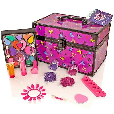 Girls Cosmetic Vanity Case Pretend Make-Up Set Lip Gloss,Stick-on Nails,Polish