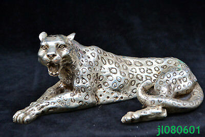 tibet silver hand big leopard Collectible chinese rare antique super statue