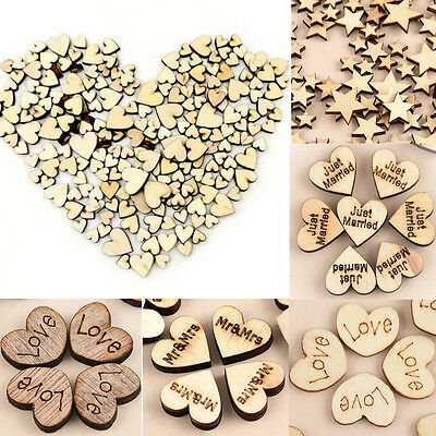100pcs Rustic Wooden Love Heart Wedding Table Scatter