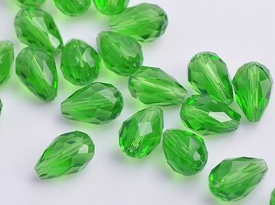 10pcs 12mm Teardrop Faceted Crystal Glass Charm Loose Spacer Beads Grass Green