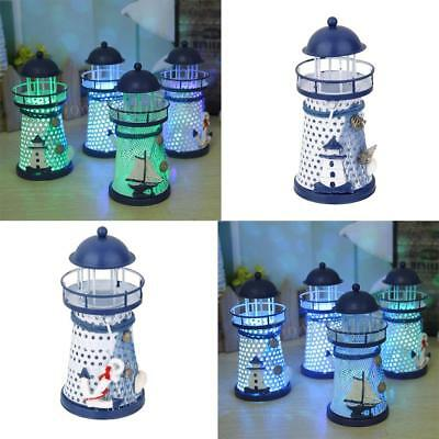 2Pcs Mediterranean Lighthouse Iron Candle LED Light Anchor Home Table Decor