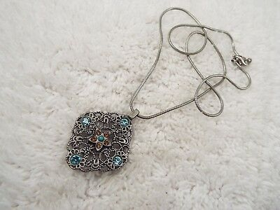 Silvertone Filigree Blue Amber Rhinestone Pendant Necklace (C32)