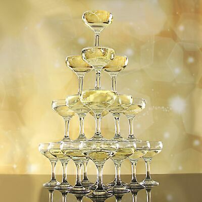Essence Champagne Tower Set - 5 Tier - 35 Glasses - Champagne Coupe Stack
