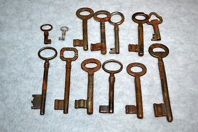 Lot of 13 Antique Vintage Skeleton Door Lock Keys, Some Hollow Barrel, lot A