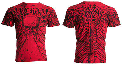 Archaic Affliction Mens S/S T-Shirt COLLISION Wings Skull RED Biker S-3XL $40