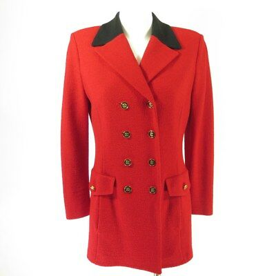 St John By Marie Gray Jacket 6 Blazer Fire Red Santana Knit SJ Logo Buttons