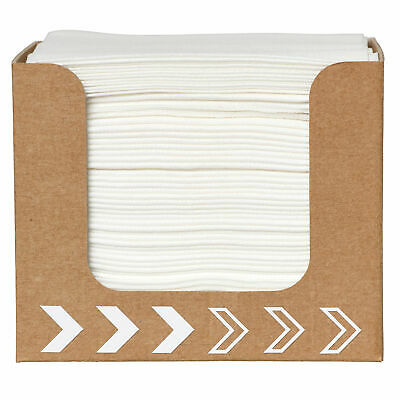 Cardboard Napkin Dispenser with 50 White Dunisoft Napkins 20 x 20cm