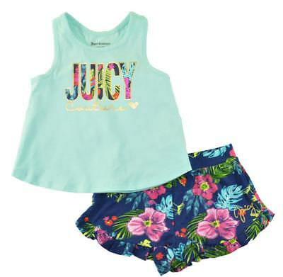 Juicy Couture Big Girls Mint & Multi Color 2pc Short Set Size 7 8/10 12 $75
