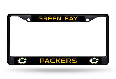 Green Bay Packers Chrome Metal License Plate Frame Car Auto Tag Holder NEW Black
