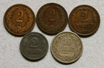 HUNGARY 2 & 10 Filler 1894-1944 - Lot of 5 Coins, No Reserve!