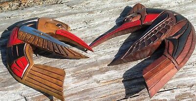 Northwest Coast First Nations native Art carvings: PAIR of Hummingbirds