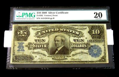 """Series 1908 $10 """"Tombstone"""" Silver Certificate -PMG VF20- FR# 302 Vernon/Treat"""