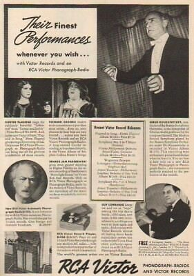 1937 RCA Victor Records Phonograph~Radio Record Player~Paderewski~Flagstad Ad