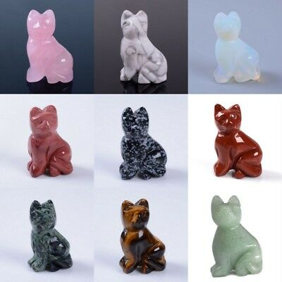 40mm Hand carved gemstone cat figurine statue stone carving 1.6""