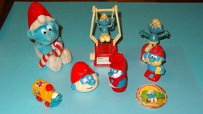 Smurfs lot of 8 Smurf items Classic Display Vintage Rare Toys Plush Wind-up