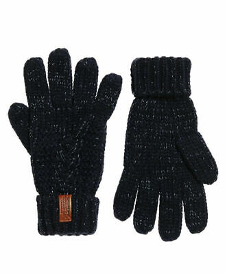 New Womens Superdry North Cable Knit Gloves Fortune Navy Sparkle