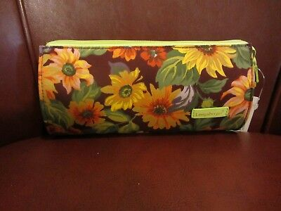 Longaberger PLUM SUNFLOWER fabric Zippered Pencil or Cosmetic Purse Bag