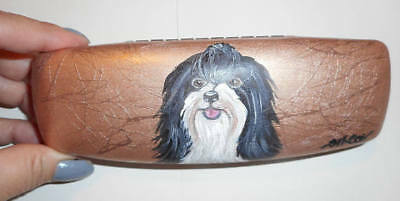 Havanese Dog Hand Painted Eyeglass case faux Leather