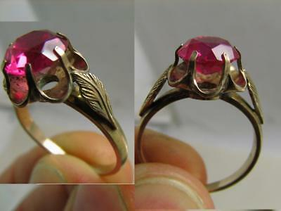 EXCELLENT ! AUTHOR'S WORK ! VINTAGE STERLING SILVER RING with STONE !  #108