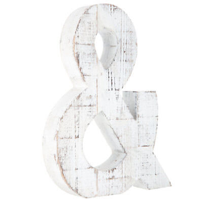 Rustic Large Distressed White Wooden Letter Wall Decor Shelf Display Letters