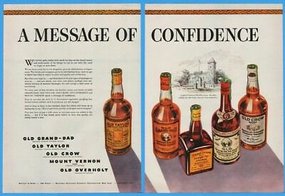 1942 Old Crow Grand Dad Taylor Mount Vernon Old Overholt Whiskey Bottle Print Ad